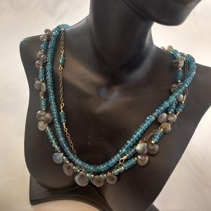 Three strand gold filled labradorite necklace